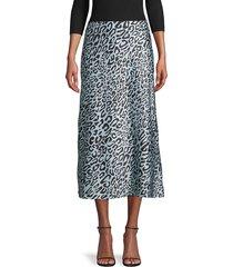 rebecca minkoff women's leopard-print midi skirt - sky blue - size 8