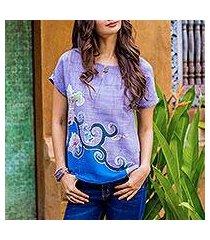 cotton batik blouse, 'thai spring' (thailand)
