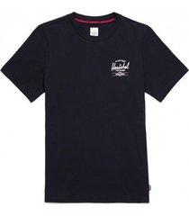 herschel t-shirt supply co. women tee classic logo black white-l