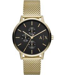 ax armani exchange men's cayde gold-tone stainless steel mesh bracelet watch 42mm