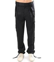 j.w. anderson black virgin wool double hem cargo trousers