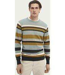 scotch & soda gestreepte sweater met ronde hals van katoen