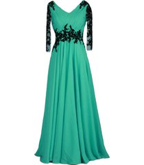 vintage sheer long sleeves v neck beaded formal prom evening dresses plus size t