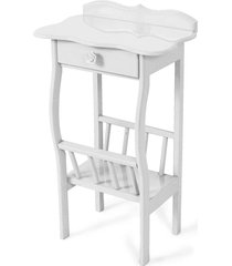 mesa lateral apoio sala revisteiro branco - branco - dafiti