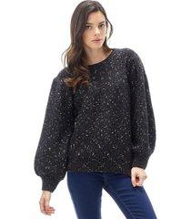 sweater manga globo brillos negro corona