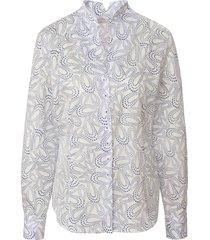 blouse 100% katoen gestipte grafische prin van eterna wit
