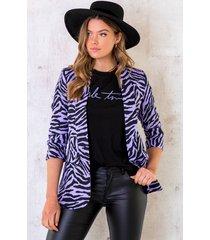 zebra blazer lila