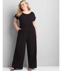 lane bryant women's ruched-shoulder jumpsuit 30/32 black