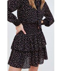 motivi vestito corto stampa rose donna nero