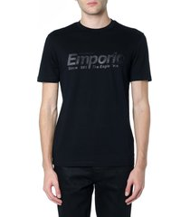 emporio armani black cotton logo script t-shirt