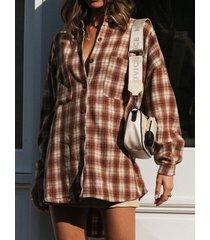 camicetta ampia con risvolto manica lunga stampa check tasca bottone