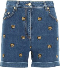 moschino denim shorts with embroidered teddy bear
