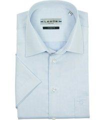 ledub modern fit overhemd korte mouw blauw