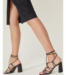 amaro feminino sandália amarração salto alto, preto