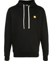 wood wood embroidered logo hoodie - black