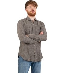buttoned tweed shirt
