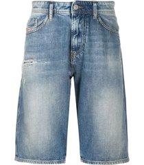 diesel distressed denim shorts - blue