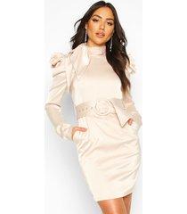 extreme shoulder belted mini dress, champagne