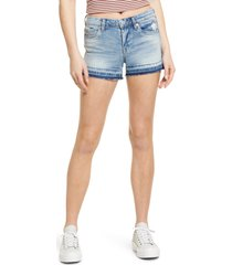 women's blanknyc the essex release hem denim shorts, size 29 - blue