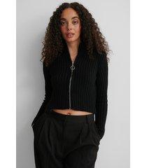 trendyol tröja med dragkedja - black