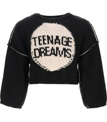 raf simons oversized sweater with teenage dreams embroidery