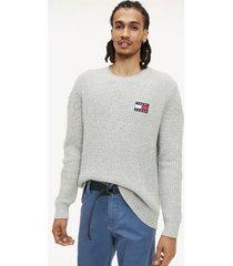 tommy hilfiger men's tommy badge sweater light grey heather - xl