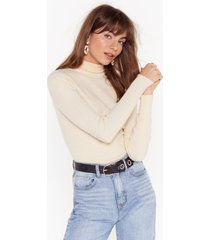 womens had knit up to here ribbed turtleneck sweater - oatmeal