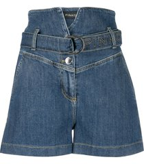 pinko high-rise belted denim shorts - blue