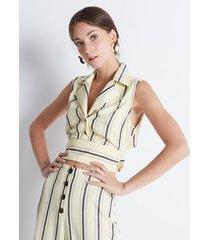 blusa corta lazo espalda rayas