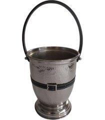 balde de gelo cm efito martelado e alça decor em aluminio niquelado