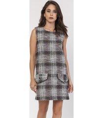 sukienka z tweedowej tkaniny