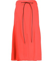 victoria beckham tied-waist a-line skirt - red