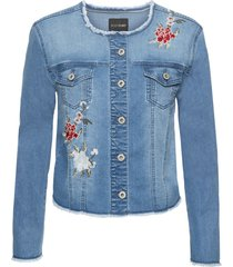 giacca di jeans con fiori ricamati (blu) - bodyflirt