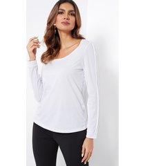 white scoop neck long sleeves semi sheer t-shirt