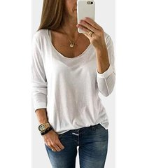 white scoop cuello camiseta semitransparente de manga larga