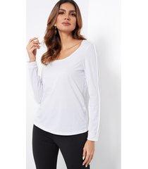 white scoop cuello camiseta semitransparente de manga larga