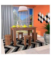 conjunto de mesa de cozinha com 4 bancos | banquetas regina montana  120 cm
