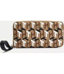 tommy hilfiger women's monogram large zip wallet neutral mix mono -