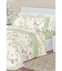cobre leito bia casal dupla face estampado 3 peças naturalle - verde floral
