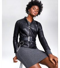alfani petite belted leather jacket, created for macy's