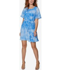 sage collective tie-dyed braided-belt a-line dress