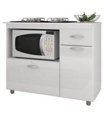 balcão completa móveis para cooktop 5 bocas e microondas branco