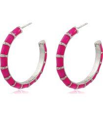 brinco viva jolie argola colors grande rosa pink rã³dio - prata/rosa - feminino - dafiti