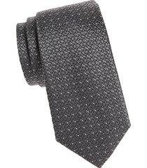 armani collezioni men's dotted silk tie - black