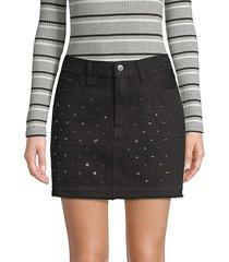 le mini embellished denim skirt