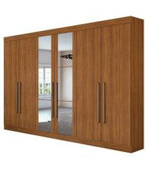 guarda roupa casal c/ espelho 6 portas 4 gavetas c/ kit gavetas castellaro móveis lopas marrom