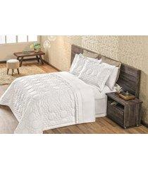 cobre leito avila queen 03 peças 100% algodão - branco