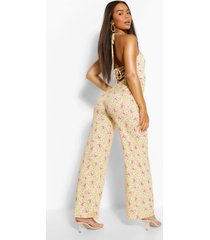 floral print strappy wide leg jumpsuit, yellow