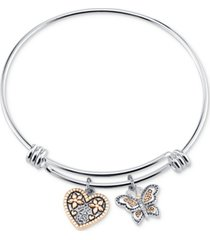 "unwritten two-tone butterfly and heart ""sisters"" charm bangle bracelet with silver plated charms"