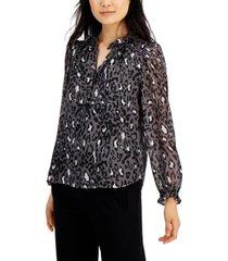 bar iii animal print ruffle sleeve blouse, created for macy's